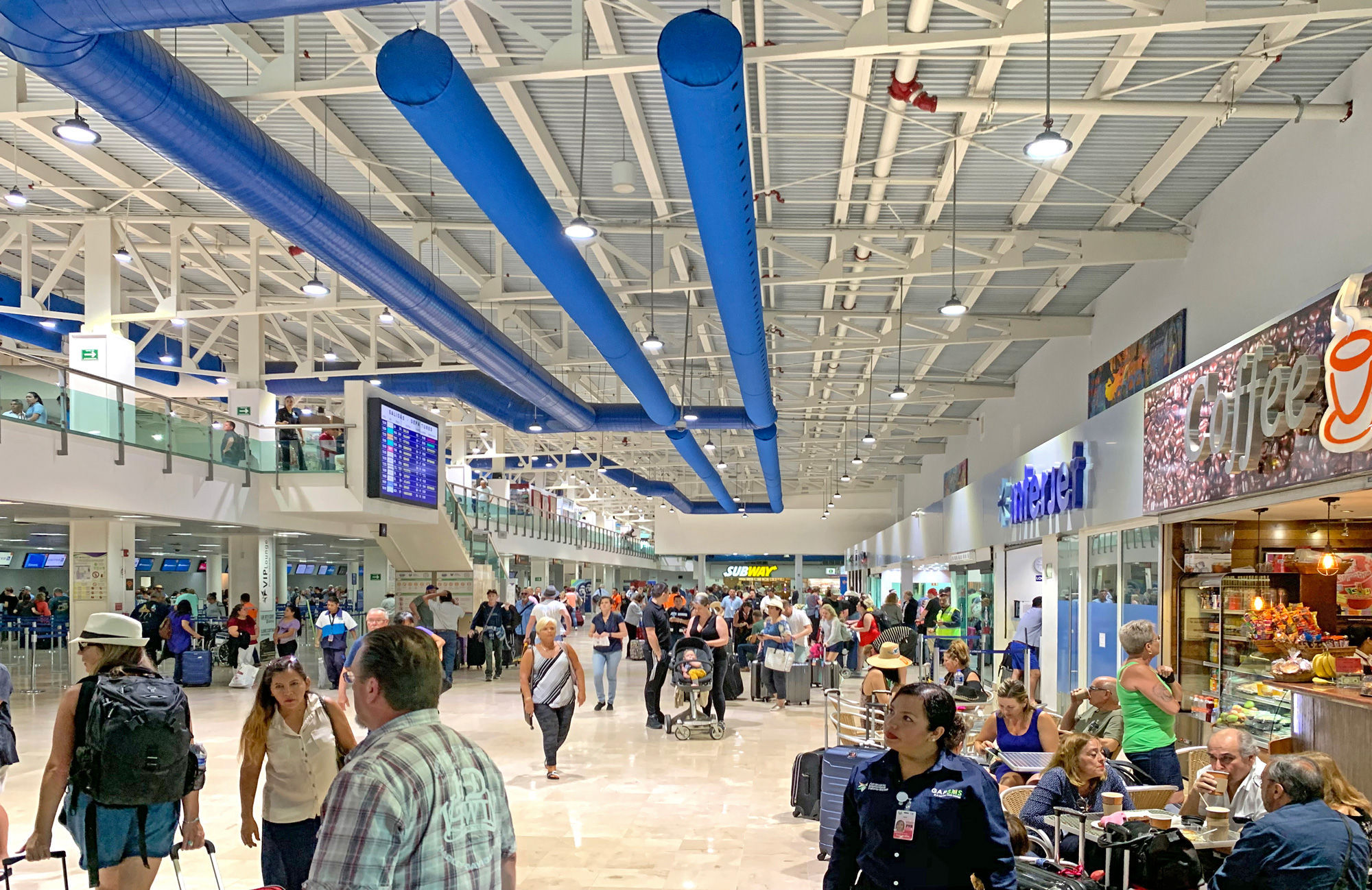 departure area airport, ceiling view